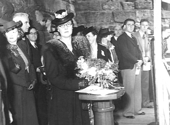 The launching of Colac by Miss M Heady, the Head Typist of Mort's Dock and Engineering Co Ltd. (AWM 009440)