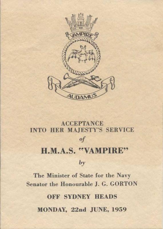HMAS Vampire's commissioning booklet