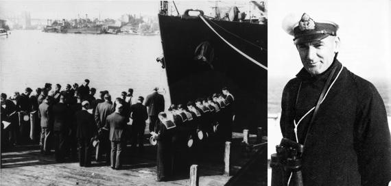 Left: Commissioning of HMAS Armidale (I) in Sydney, 11 June 1942. Right: Lieutenant Commander David H Richards, RANR(S), Commanding Officer HMAS Armidale (I).