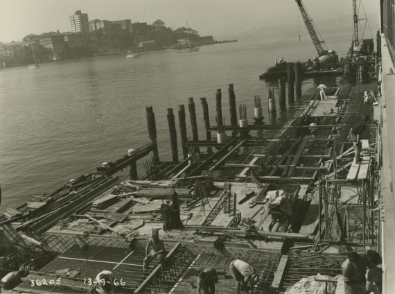 Construction of the main submarine wharf, July 1966