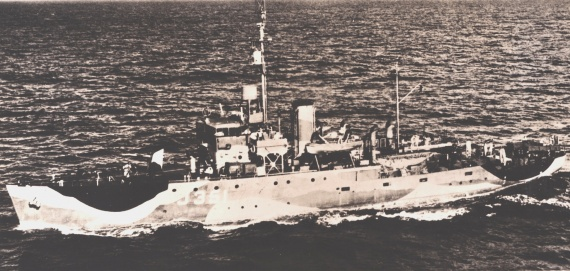 HMAS Cowra wearing her wartime disruptive pattern camouflage paint