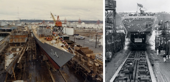 Left: Darwin prior to the launching ceremony at Todd Pacific Shipyards Corporation Seattle Division, Washington, USA. Right: Darwin being launched on 26 March 1982.