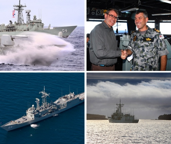 Top left: HMNZS Te Mana steams past HMAS Darwin during Officer of the Watch manoeuvres with HMAS Anzac in the East Australian Exercise Area during the Fleet Concentration Period.<br />