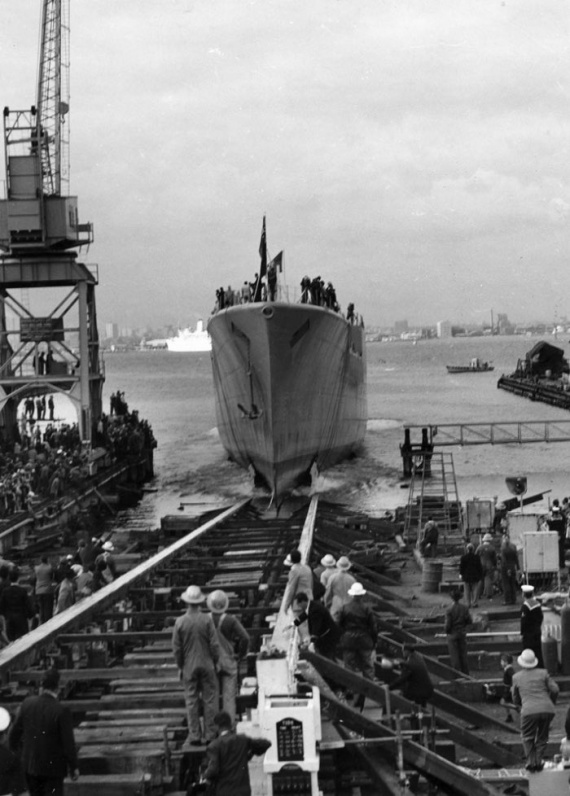 HMAS Derwent immediately after launching, fitting out commenced and continued until April 1964.