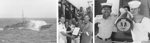 Left: Dubbo in rough seas. Middle: ABET Danny Liddell receives commendation award from LCDR Rankin, Commanding Officer of Dubbo, for his outstanding performance during 1994. Right: ABBM Neil Forsyth (right), from HMAS Dubbo, welcomes to Australia Amir Amiruddin (left) from the Indonesian Navy's KRI Pandrong during Exercise New Horizon 1993.