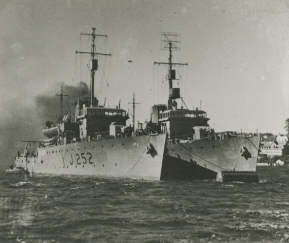 HMAS Echuca anchored in Sydney Harbour alongside one of her sister Australian Minesweepers.