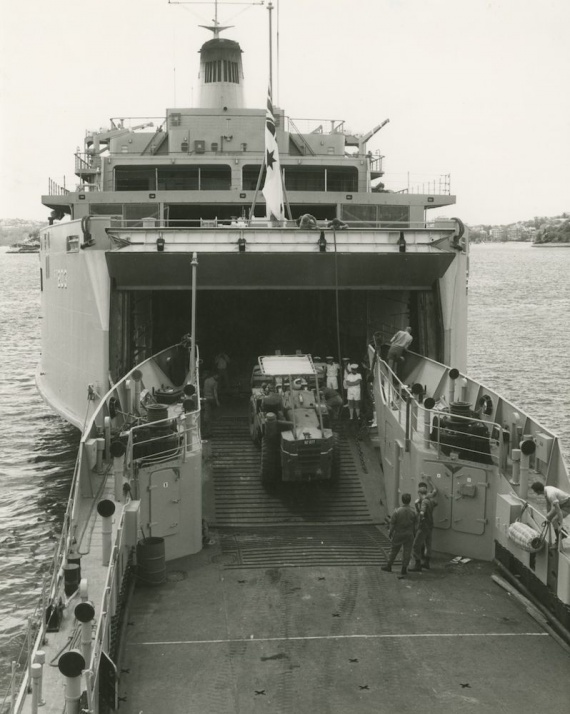 Jervis Bay with HMAS Balikpapan during Exercise GOLDEN SAND in December 1980