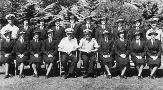 Members of the first WRANS officer training class January 1943. Back row: Chief Petty Officer Wells (instructor), Marion Egan, Jean Thompson, Mary Butler, Margaret Curtis-Otter, Sheila McClemans, Blair Williams (Bowden), Joan Furley, Nancy Spier, Chief Petty Officer Harding. Front row: Lorna Bradford, Betty Bradford, Joyce Medcalfe, Joan Cowie, Commander Baldwin, Commander Phelp, Frances Provan, Edna Goulston, Alice Gould, Thelma Fenton.