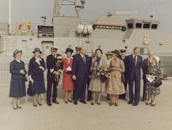 Naming ceremony of HMAS Fremantle on 8 October 1979 at Brooke Marine Shipyard, Lowestoft, England.