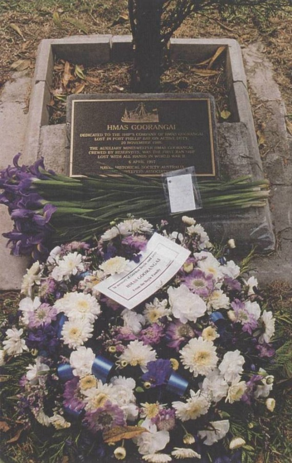 The HMAS Goorangai memorial plaque at HMAS Cerberus, 6 April 1997