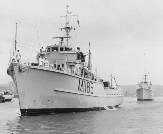 HMAS Gull arrives in Sydney on 7 December 1962 after her voyage from the United Kingdom.