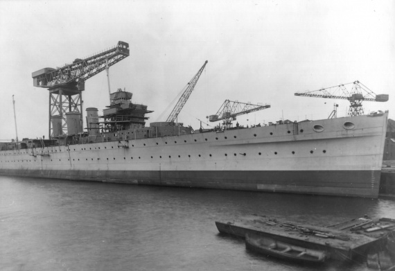 Australia fitting out. Visible here are her three original 'short' funnels. The height of these were later increased.