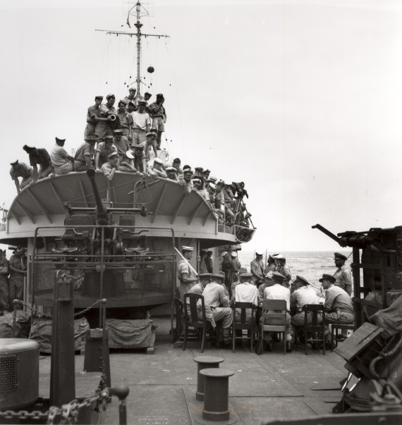 Crew of HMAS Burdekin onboard during World War II