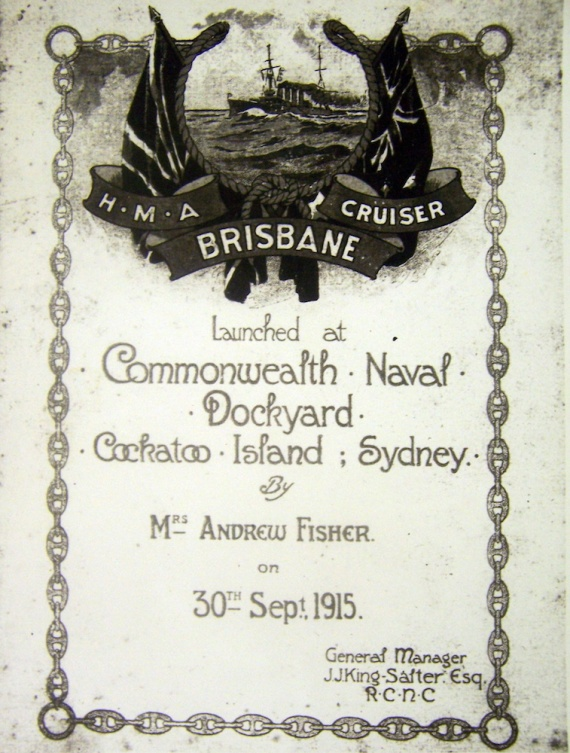 Program from HMAS Brisbane's launching