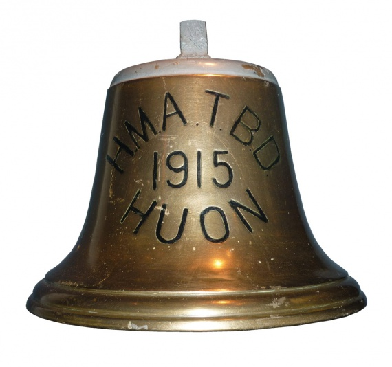 The bell of HMAS Huon now on display in the Australian War Memorial, Canberra