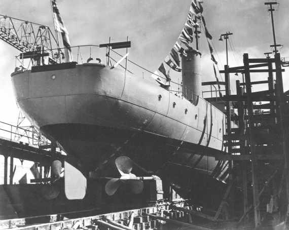 Kalgoorlie prior to her launch at Broken Hill Pty Ltd, Whyalla, South Australia.