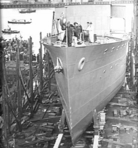 HMAS Katoomba on the launching cradle at the yards of Poole & Steel Ltd shortly before being launched on 16 April 1941.