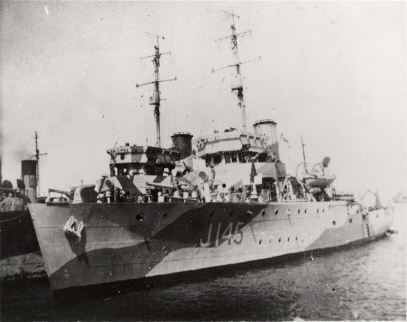 HMAS Lismore alongside HMAS Maryborough, Tripoli 1943.