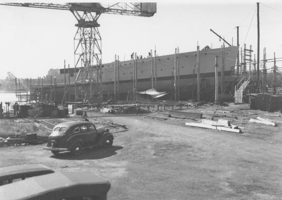 Rockhampton on the builders slipway at the Walkers yard, Maryborough, Queensland, circa 1941.