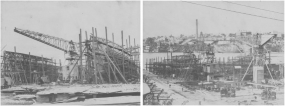 HMAS Torrens and her sister ship, HMAS Huon under construction at Cockatoo Island Dockyard, Sydney.