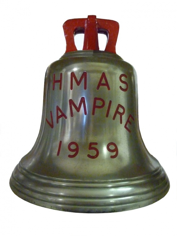 HMAS Vampire's ship's bell is now on display in the Naval Heritage Collection.