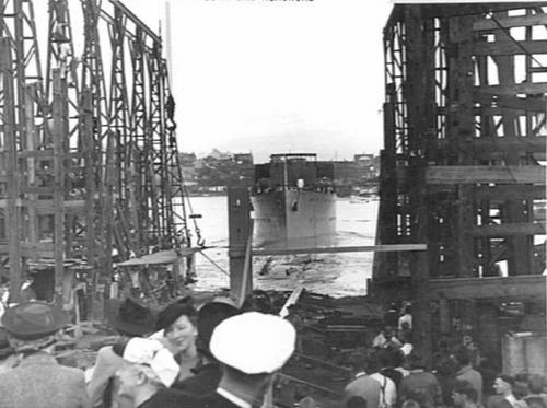 Warrnambool slides down the slipway at Mort's Dock, Sydney, 8 May 1941.