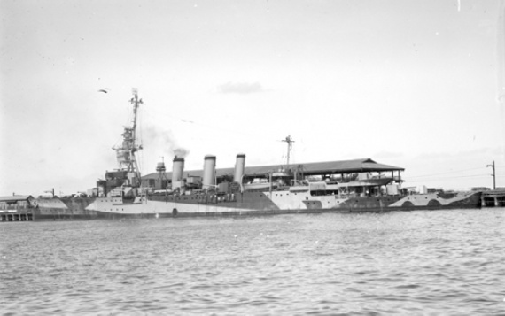 Adelaide (I) wearing her wartime disruptive camouflage paint scheme c.1944.
