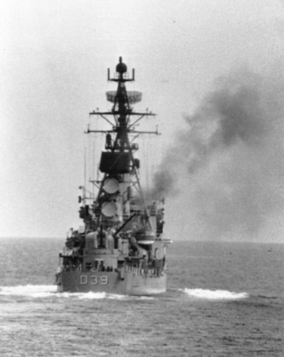 HMAS Hobart (II) firing on the gunline.