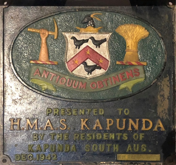 A plaque presented to the crew of HMAS Kapunda from her namesake city in December 1942. It now forms part of the WWII display in the Australian War Memorial, Canberra.