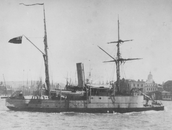 Albert leaving Portsmouth, England, for sea trials January 1884.