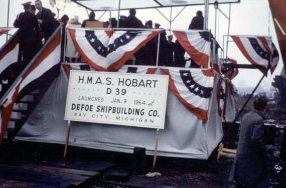 The launching of HMAS Hobart (II), 9 January 1964.