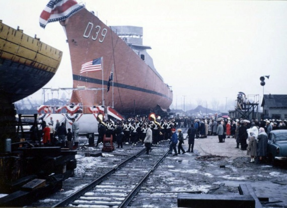 HMAS Hobart (II) on the slipway prior to her official launching.