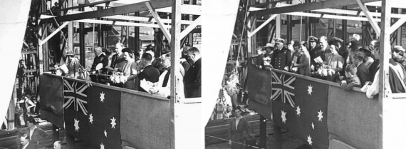 Mrs TS Punch, the Mayoress of Inverell, launching Inverell on 2 May 1942 at Mort's Dock & Engineering Co Ltd, Sydney.
