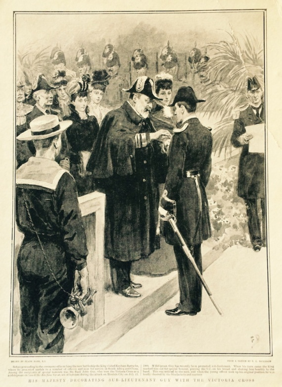 The award of the Victoria Cross to Sub-Lieutenant BJD Guy by HM King Edward VII (Courtesy The Graphic 15 Mar 02)