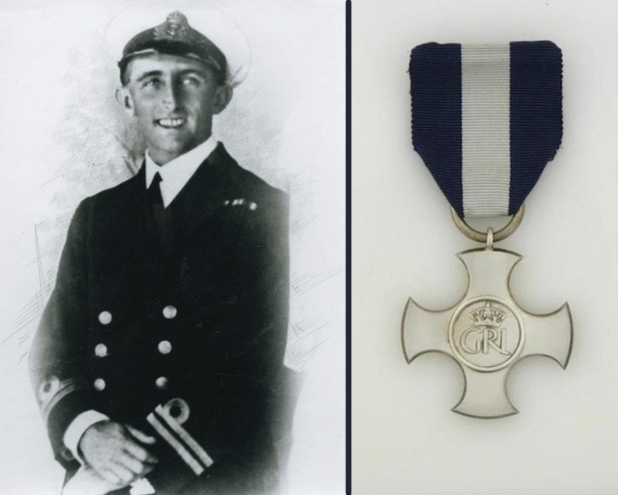 A pre-war portrait of the then Lieutenant JF Rayment, RAN. Right: The Distinguished Service Cross.