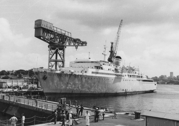 MV Australia Trader in Sydney after her acquistion by the RAN and before her conversion to a training vessel.
