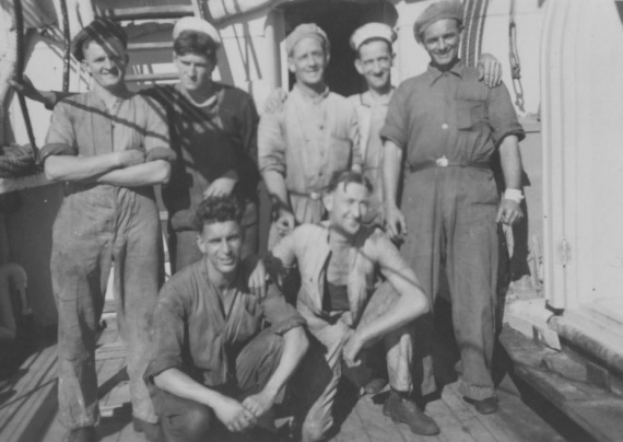 Front left: Stoker Ted Caton with members of Kybra's ship's company, circa 1941.