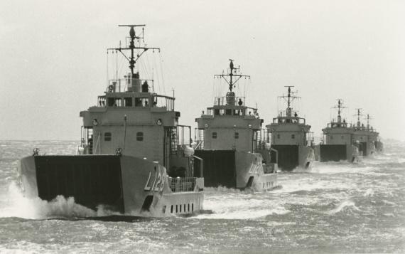 HMAS Labuan leading the LCH squadron