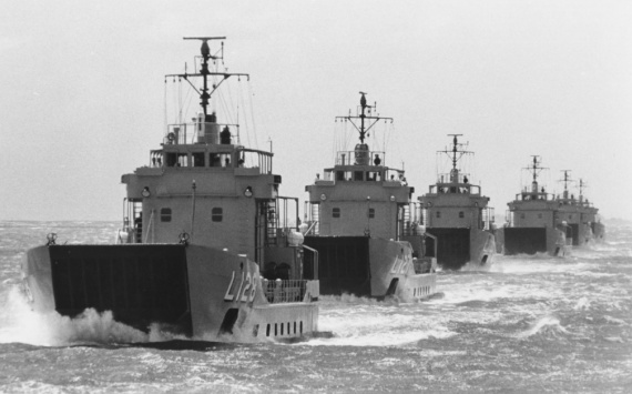 HMAS Labuan leading the LCH squadron.