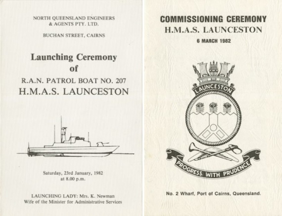 Left: The pamphlet from the launching of HMAS Launceston II on 23 January 1982. Right: The pamphlet from the commissioning ceremony of HMAS Launceston II on 6 March 1982 at No. 2 Wharf, Port of Cairns, Queensland.
