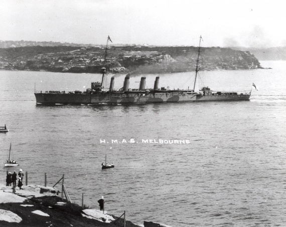 HMAS Melbourne entering Sydney Harbour for the first time 4 October 1913