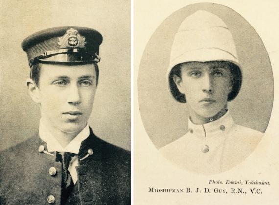 Left: Cadet Midshipman Guy c.1897. Right: Midshipman Guy, VC, RN aged 18.