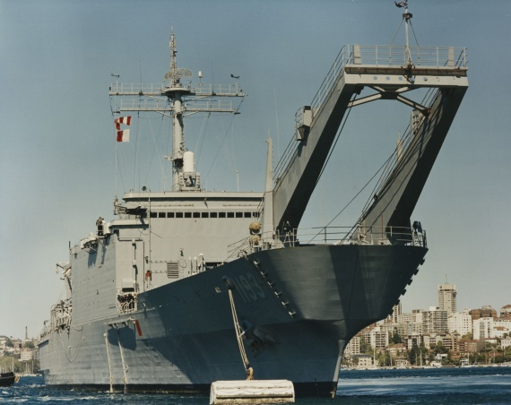 USS Fairfax County, September 1994 prior to commissioning into the Royal Australian Navy. The ship underwent an extensive conversion immediately after commissioning.