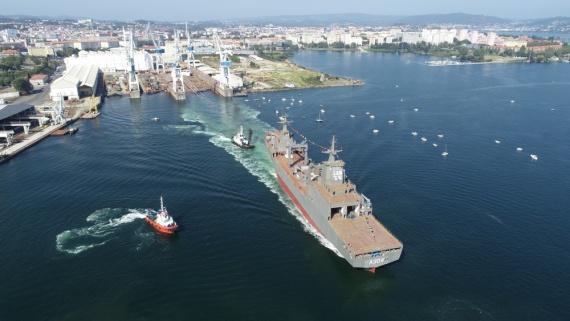 Royal Australian Navy Auxilliary ship, NUSHIP Stalwart launches in Ferrol, Spain.