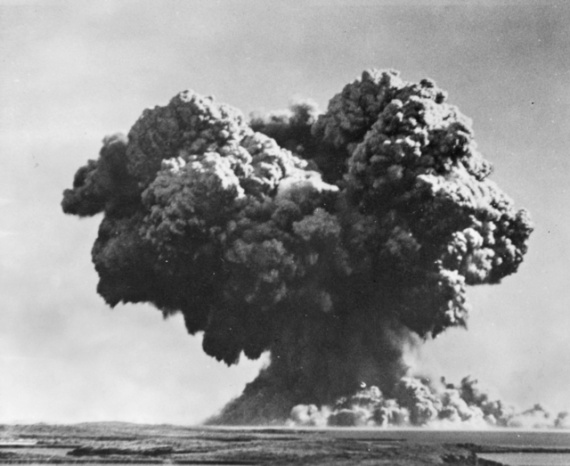 Operation HURRICANE just moments after a nuclear device was detonated in HMS Plym