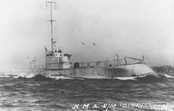 HMAS Otway at sea. Note the 4-inch gun mounted forward of the conning tower.
