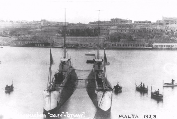 HMA Submarines Oxley and Otway in Malta, 1928