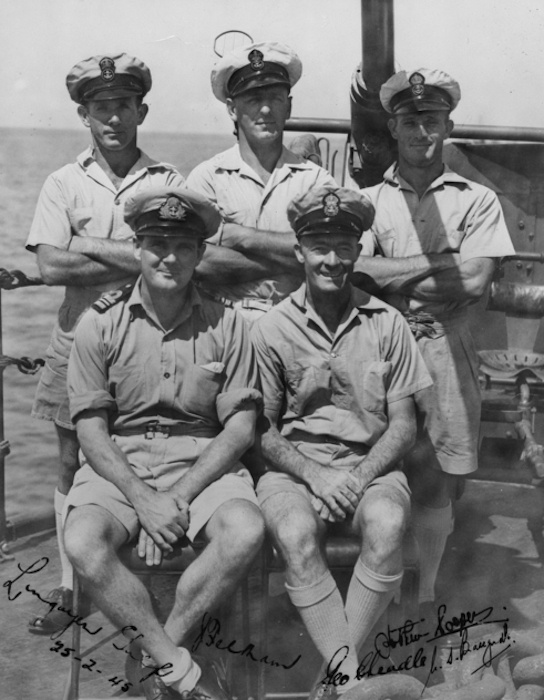 nformal group portrait of members of HMAS Shropshire. Identified, left to right, back row: Chief Petty Officer (CPO) Joe Feltham, DSM; CPO George Cheadle, DSM; Petty Officer Norbert 'Nutty' Ferris. Front row: Commander Warwick Bracegirdle, DSC and bar; CPO Arthur Cooper, DSM. (AWM P04749.001)