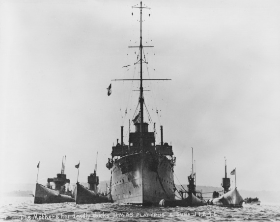 HMAS Platypus in company with the J class submarines J1, J2, J4 and J5