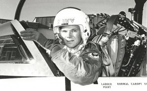 SBLT Malcolm McCoy in a Macchi trainer aircraft.